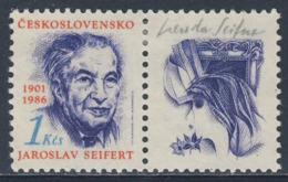 Tschechoslowakei Czechoslovakia 1991 Mi 3082 YT 3082 SG 3057 ** Jaroslav Seifert, Dichter / Poet + Nobelpreis 1984 - Nobelprijs