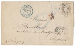 TIMBRE  N°56 CÉRÈS SUR LETTRE ; CACHET BLEU ( ALLEMAGNE) PD En ROUGE ; RARE ;TTB - 1871-1875 Cérès