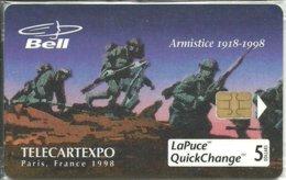 Canada: Bell - TélécarteExpo Paris 1998, Armistice 1918-1998. NSB - Canada