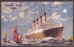 "CP Illustrateur : Walter Thomas-Voiliers+White Star Line :Triple-Screw R.M.S. ""OLYMPIC"" Circulé+cachet Paquebot 1929 - Paquebots"