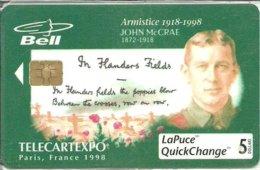 Canada: Bell - TélécarteExpo Paris 1998, Armistice 1918-1998, John McCrae. NSB - Canada