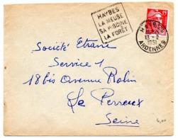 ARDENNES - Dépt N° 08 = HAYBES 1951 = FLAMME  DAGUIN 'La Meuse Sa Piscine La Forêt' + Enveloppe Entière - Mechanical Postmarks (Other)