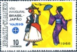 BRAZIL #1085  - VARIG - INAUGURAL FLIGTH TO JAPAN  - 1968 - Brazil