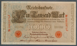 P44 Ro 45c DEU-40c  7 Chifres N°3863971J  *** AUNC *** Lettre Q  1000 Mark 1910 - [ 2] 1871-1918 : German Empire