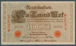 P44 Ro 45c DEU-40c  7 Chifres N°3863974J  *** AUNC *** Lettre Q  1000 Mark 1910 - [ 2] 1871-1918 : German Empire