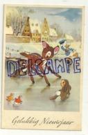 Gelukkig Nieuwjaar. Bambi, Panpan Et Donald Sur Un Lac Gelé. 1954. Coloprint 53729/2 - Disney