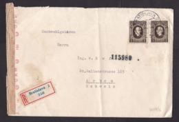 Slovakia: Registered Cover To Switzerland, 1944, 2 Stamps, Censored, German Censor Tape, World War 2, WW2 (minor Damage) - Slowakische Republik