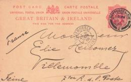 Entier Postal One Penny Grande Bretagne Cachet Battersea 1905 Pour Villemomble France - 1902-1951 (Rois)