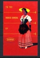 Cinderella   Sabena     To  French Riviera  (format 7x11)   X   (1958?) - Erinnofilie