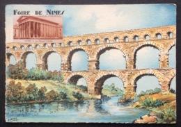 E13-1 Vignette Nîmes La Maison Carrée Sur Carte Postale Pont Du Gard Foire De Nîmes - Commemorative Labels