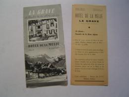 2 X DEPLIANT TOURISME : HOTEL DE LA MEIJE - LAFONT / LA GRAVE ( 05 ) - Tourism Brochures