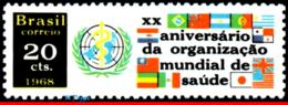 Ref. BR-1103 BRAZIL 1968 HEALTH, 20TH ANNIV.OF WHO, WORLD, HEALTH ORG., UN EMBLEM AND FLAGS, MNH 1V Sc# 1103 - Brasilien