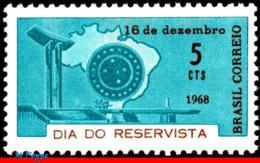 Ref. BR-1113 BRAZIL 1968 MAPS, RESERVISTS' DAY, WAR, MEMORIAL, EMBLEM, MI# 1202, MNH 1V Sc# 1113 - Ungebraucht