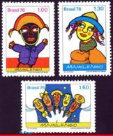 Ref. BR-1469-71 BRAZIL 1976 THEATERS, MAMULENGO PUPPET SHOW,, POPULAR THEATER, FOLK, MI#1554-56, MNH 3V Sc# 1469-1471 - Brazilië