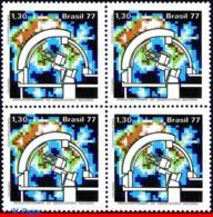 Ref. BR-1529-Q BRAZIL 1977 ASTRONOMY, ASTROPHYSICS OBSERVATORY,, TELESCOPE, MI# 1621, BLOCK MNH 4V Sc# 1529 - Astronomie