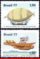 Ref. BR-1530-31 BRAZIL 1977 PLANES, AVIATION, HYDROPLANE, PAX,, DIRIGIBLE, MI# 1622-23, SET MNH 2V Sc# 1530-1531 - Mongolfiere