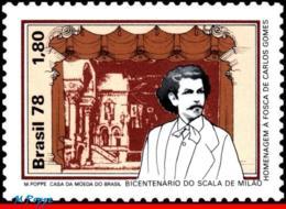 Ref. BR-1553 BRAZIL 1978 FAMOUS PEOPLE, CARLOS GOMES, COMPOSER,, SCALA IN MILAN, MI# 1642, THEATER, MNH 1V Sc# 1553 - Brésil
