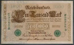 P45b Ro 46b DEU-69b  7 Chifres N°5891547B *** AUNC *** Lettre  D  1000 Mark 1910 - [ 2] 1871-1918 : German Empire