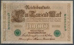 P45b Ro 46b DEU-69b  7 Chifres N°5891548B *** AUNC *** Lettre  D  1000 Mark 1910 - [ 2] 1871-1918 : German Empire
