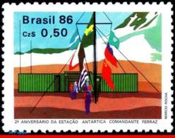 Ref. BR-2044 BRAZIL 1986 FLAGS, COMM. FERRAZ, ANTARCTIC, STATION, 2ND ANNIV., MI# 2168, MNH 1V Sc# 2044 - Bases Antarctiques