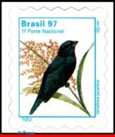 Ref. BR-2499 BRAZIL 1997 BIRDS, ANIMALS & FAUNA,VOLATINIA, JACARINA, MI# 2765, DEFINITIVE MNH 1V Sc# 2499 - Passereaux