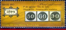Ref. BR-3239E BRAZIL 2013 POST, FIRST STAMPS ISSUED, (1843), STAMP ON STAMP, MNH 1V Sc# 3239E - Briefmarken Auf Briefmarken