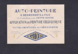 Carte De Visite Publicitaire Auto Peinture G. Desbonnets & Fils Petite Synthe  Cellulosique Carrosserie Automobile - Publicités