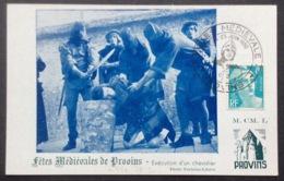 CM345 Carte Maximum Provins Fêtes Médiévales + Vignette Au Verso T 810 24-25/6/1950 - Maximum Cards