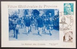CM346 Carte Maximum Provins Fêtes Médiévales + Vignette Au Verso T 810 24-25/6/1950 - Maximum Cards