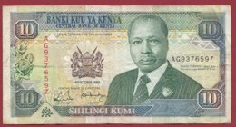 Kenya  10 Shillings  Du 14/10/1989  Dans L 'état  (169) - Kenia