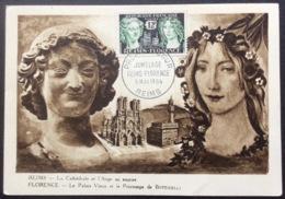 CM348 Carte Maximum 1061 Jumelage Reims Florence Premier Jour 5/5/1956 - Cartes-Maximum