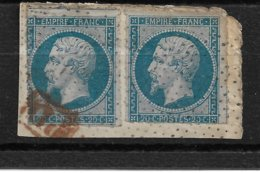 France N°14B X2 Perces En Ligne Et Oblitéré Pointilles.Cote 130€. - 1853-1860 Napoléon III.