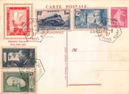 Lettre Exposition Philatélique Internationale AVION  Hexagonal Paris 25/6/1937 '(entier Semeuse 20 C ..divers Timbres ) - Marcofilie (Brieven)