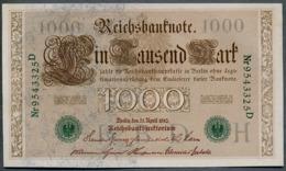 P45b Ro 46b DEU-69b  7 Chifres N°9543435D *** AUNC *** Lettre  H  1000 Mark 1910 - [ 2] 1871-1918 : German Empire