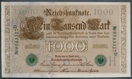P45b Ro 46b DEU-69b  7 Chifres N°9543437D *** AUNC *** Lettre  H  1000 Mark 1910 - [ 2] 1871-1918 : German Empire