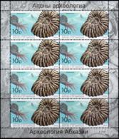 """Abkhazia 2019. """"Molluscs, Ammonites. Archaeology"""" Sheet Perforated. Quality:100% - Nuovi"""