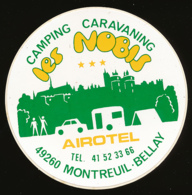 AUTOCOLLANT, STICKERS : MONTREUIL-BELLAY (Maine-et-Loire), Camping-Caravaning Les Nobis, Airotel - Stickers