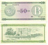 CUBA 1985 - SERIE B / 50 PESOS - FX10 - RARE FX CERTIFICATE BANKNOTE  -  VF-XF - Cuba