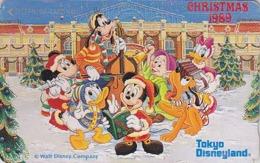Télécarte Japon / 110-78383 - DISNEY - NOEL 1989 - Mickey Donald Nain Simplet Accordeon - CHRISTMAS Japan Phonecard - Disney