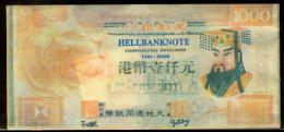 Chine Billet Facsimilé Pour Bruler Hong Kong 1000 Dollars China Banque De L'Infer Facsimile Banknote To Born Hell Bank - Billets