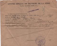 Militaria/ Certificat/ Pension Temporaire/ Centre Spécial De Réforme De La Seine/ Gauthier/1921                  VPN260 - Documents