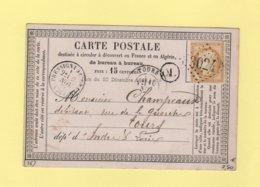 Pressigny Le Grand - 36 - Indre Et Loire - GC 3024 - 9 Nov 1874 - Carte Precurseur - 1849-1876: Periodo Classico