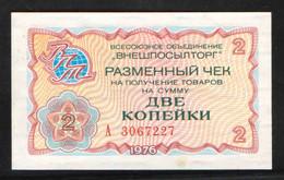 """RUSSIA CHECK """"VNESHPOSILTORG"""" 2kop  1976 UNC - Russia"""