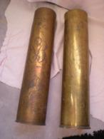 Objets De Tranchée Douilles De 75 Gravée. Verdun Du 1er Au 10 Aout 1916 L'autre Initiales Et Fleurs Voir Les Photos - 1914-18