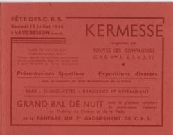 Carte D'invitation à 2 Volets/Fête Des C.R.S./Kermesse/Grand Bal De Nuit/Ministre De L'Intérieur/Vaucresson/1948  VPN261 - Documents