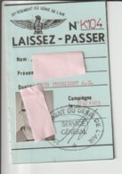 LAISSER PASSER / 25 Ième RGT.. DU GENIE DE L'AIR / 1985 - Aviation