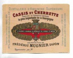 """RARE étiquette """" Distillerie D' Absinthe Supérieure, CASSIS Et CHERRETTE, Frédéric MUGNIER à DIJON """" - Otros"""