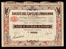 Société Des CAFES De L' INDOCHINE  Siège à SAIGON Action De 100F Au Porteur  TTB 2 Scan - Asia