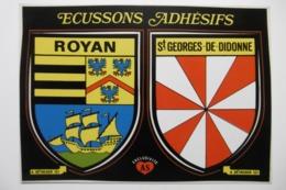 """Carte Postale Autocollante Adhésif """"ROYAN - SAINT-GEORGES-DE-DIDONNE """" Sticking Postcard Ecussons 17 CHARENTE MARITIME - Royan"""