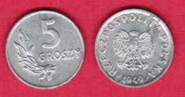 POLAND  5 GROSZY 1949 (Y # 41a) #5446 - Pologne